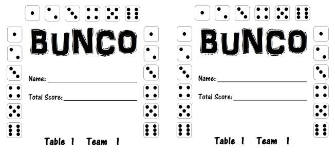 Bunco Card 1.1