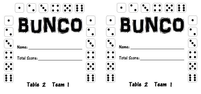 Bunco Card 2.1