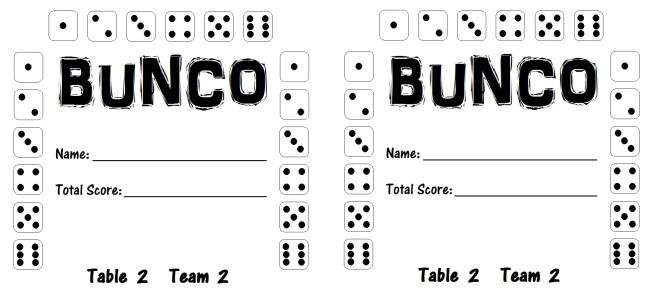 Bunco Card 2.2