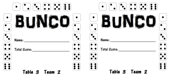 Bunco Card 3.2