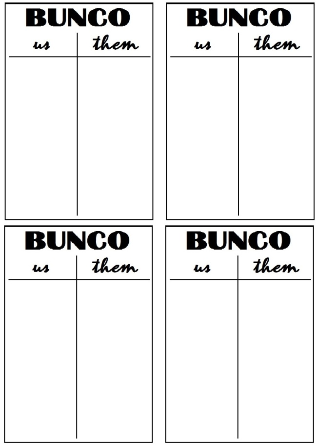 Transformative image for printable bunco table tally sheets