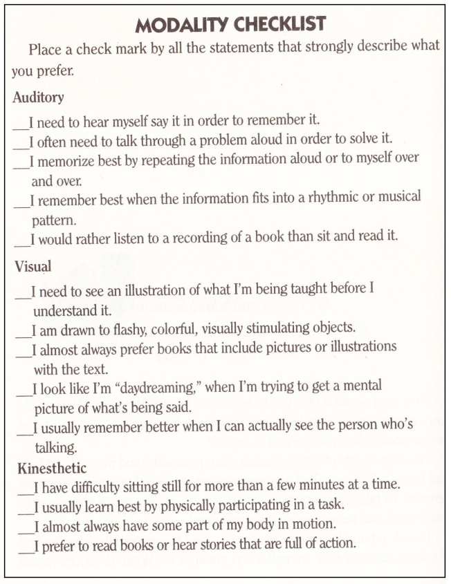 Modality Checklist 001
