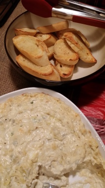Warm Artichoke Dip with toasted bread