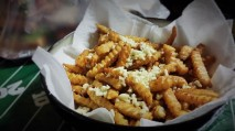"""Mile High"" Garlic Fries, served with green onion Ranch dip"