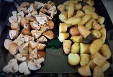 Mushrooms & Cooked, cooled fingerling potatoes