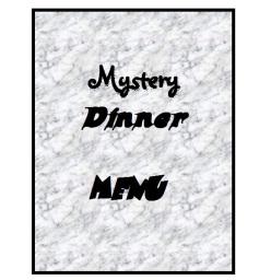 mystery Dinner menu cover