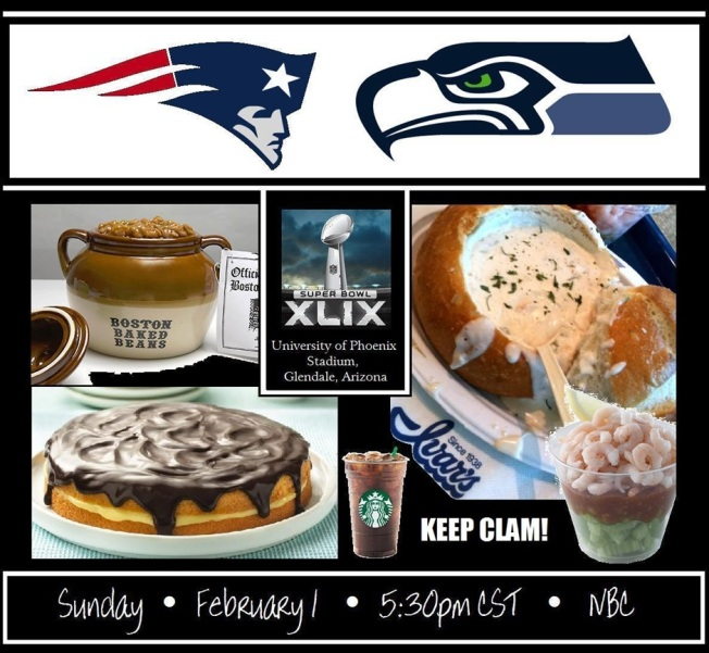 Patriots Seahawks Party flier
