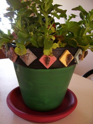 decorated flower pot