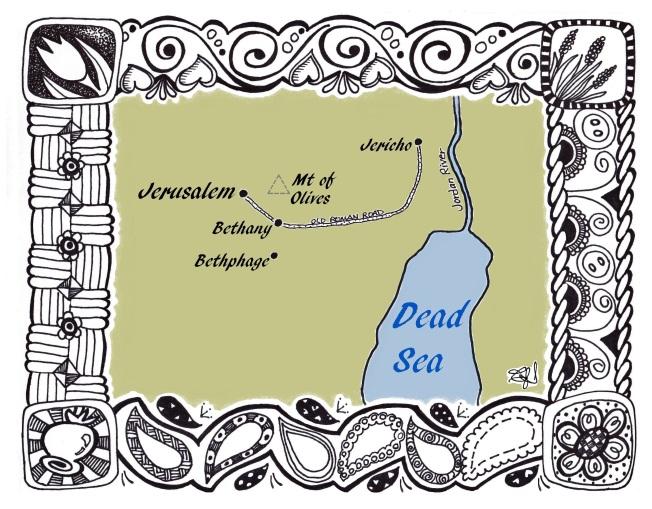 Jerusalem to Jericho map