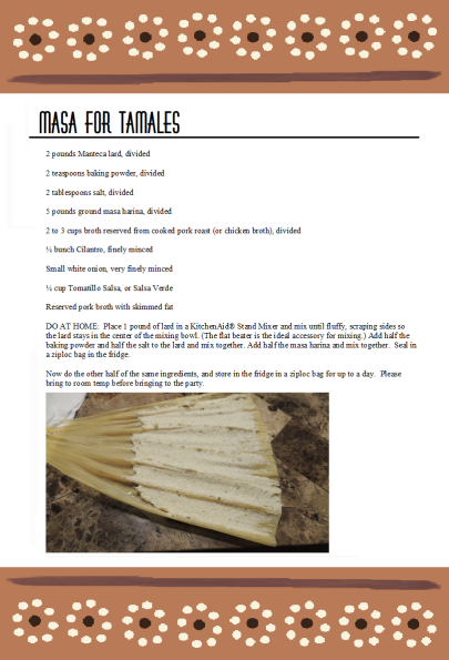 Masa Tamalada Party recipe card