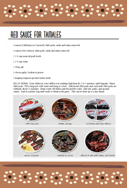 Red Sauce Tamalada Party recipe card