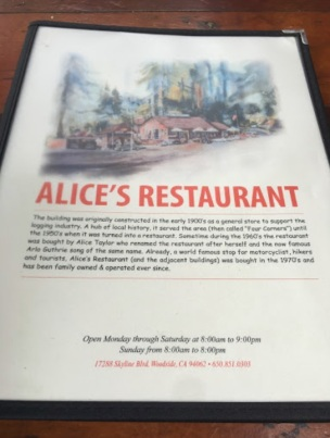 Alice's Restaurant menu front cover